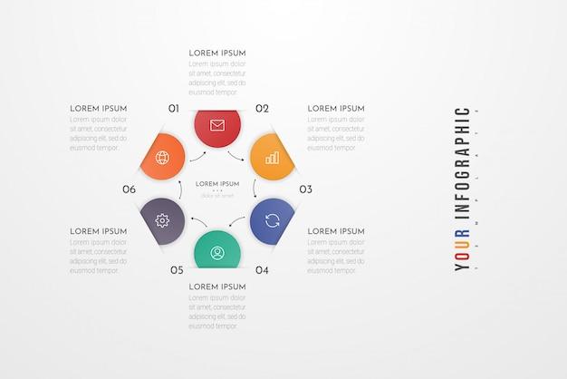 Elementi di progettazione infografica per i dati aziendali con 6 opzioni, parti, passaggi, tempistiche o processi del cerchio.