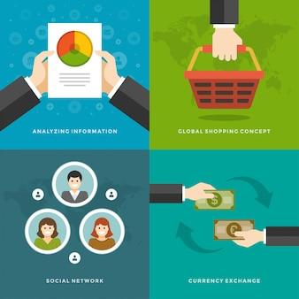 Elementi di promozione del sito web e design piatto.