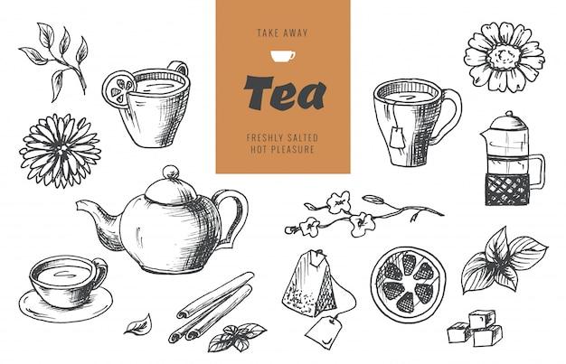 Elementi di raccolta del tè in stile grafico, illustrazione vettoriale disegnato a mano