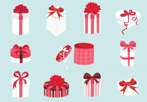 Elementi di raccolta di san valentino carino con scatola di cioccolato