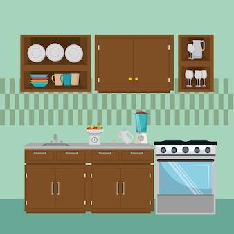 Elementi di scena cucina moderna