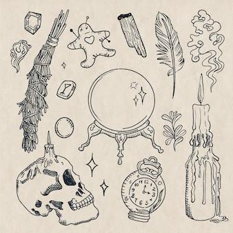 Elementi di schizzo di contorno esoterico