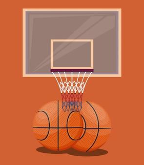 Elementi di sfondo arancione gioco di sport di pallacanestro