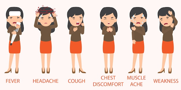 Elementi di sintomi malati di influenza