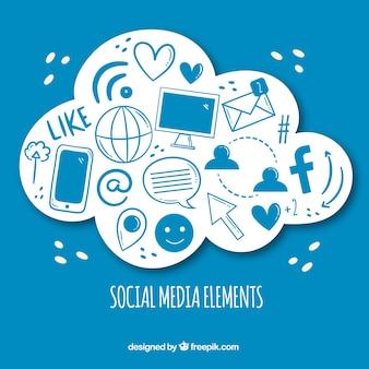 Elementi di social media disegnati a mano a forma di nuvola