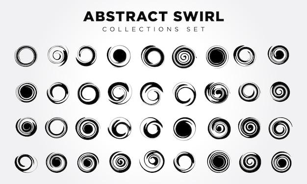 Elementi di spirale astratti impostati