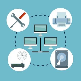 Elementi di tecnologia informatica in rete nelle icone intorno