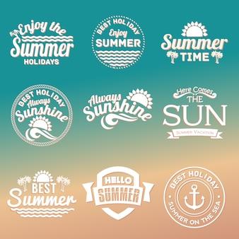 Elementi di testo estate impostato per vacanze estive, viaggi, vacanze al mare, sole