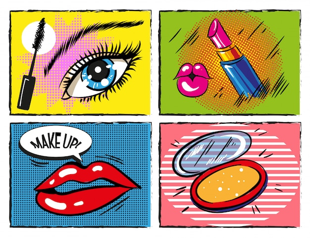 Elementi di trucco e cosmetici vintage pop art comici