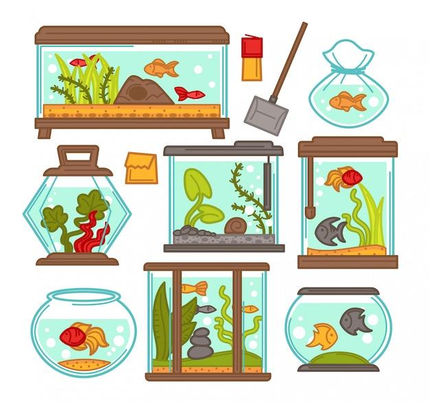 Elementi di vettore del serbatoio di pesci dell'acquario