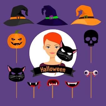 Elementi di vettore della ragazza di moda festa di halloween