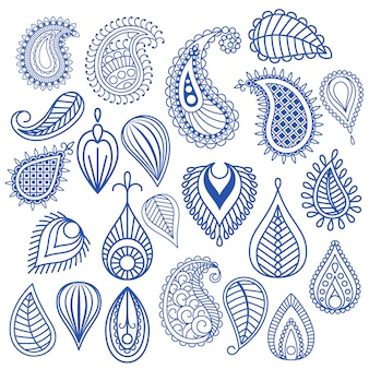 Elementi di vettore di doodle di foglia orientale