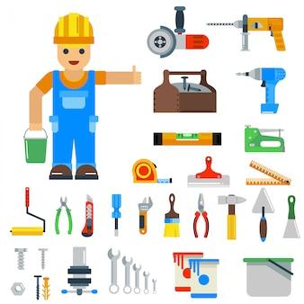 Elementi di vettore di strumenti di riparazione a casa