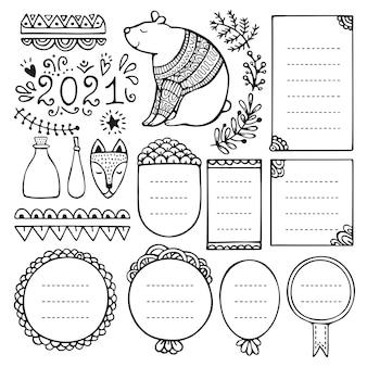 Elementi di vettore disegnato a mano proiettile giornale per notebook, diario e planner.