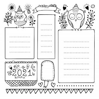 Elementi di vettore disegnato a mano proiettile giornale per notebook