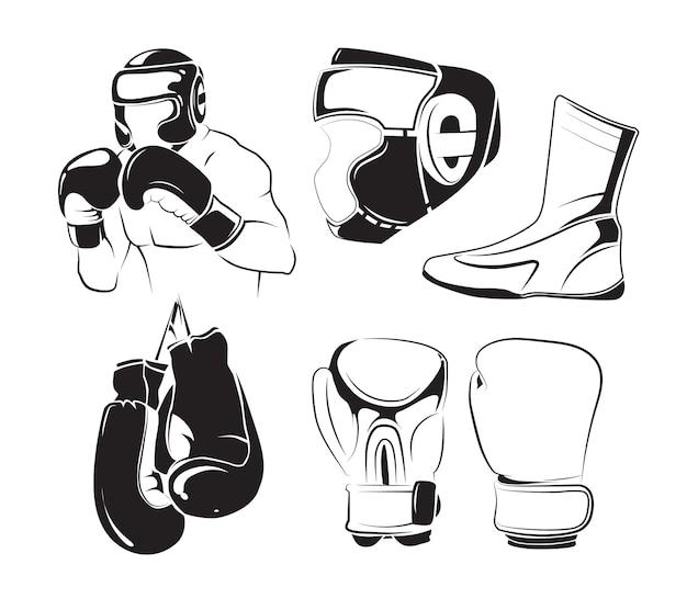 Elementi di vettore per gli emblemi di pugilato dell'annata