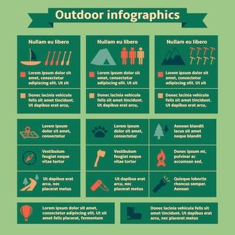 Elementi di viaggio all'aperto infografica
