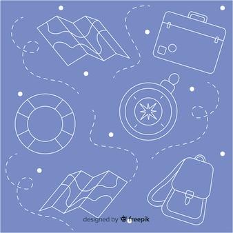 Elementi di viaggio doodle sfondo