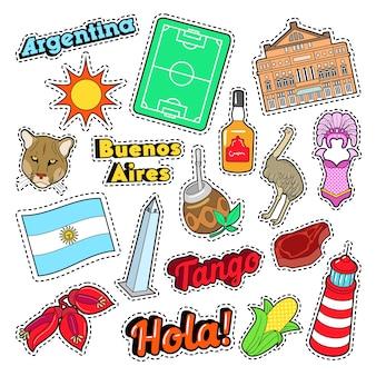 Elementi di viaggio in argentina con architettura e calcio. doodle di vettore