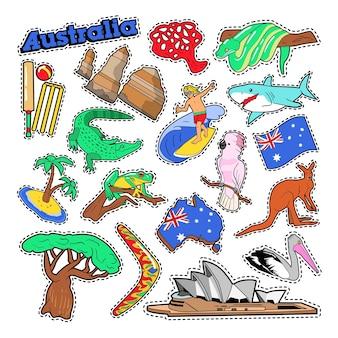 Elementi di viaggio in australia con architettura e animali. doodle di vettore