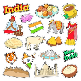 Elementi di viaggio in india con architettura e lotus. doodle di vettore