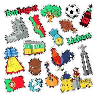 Elementi di viaggio portogallo con architettura per badge, adesivi, stampe. doodle di vettore