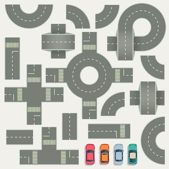 Elementi di vista superiore della mappa della costruzione di strade della strada principale