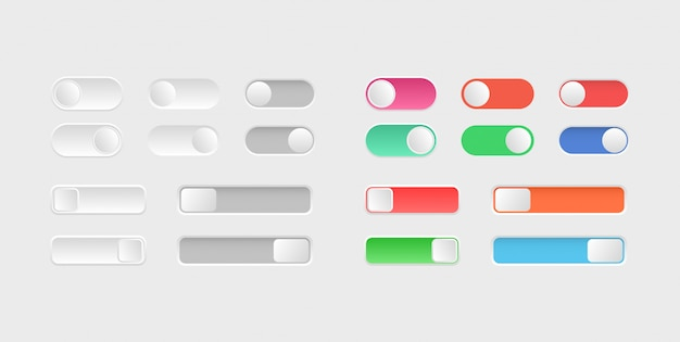 Elementi di web design. attiva / disattiva le icone degli interruttori. collezione di pulsanti on off. layout dei pulsanti di scorrimento.