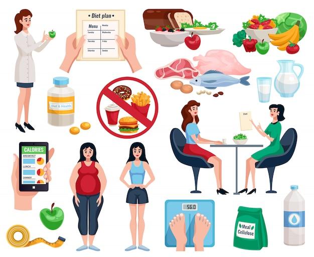 Elementi dietetici impostati con una nutrizione di base per una buona salute e piatti utili per perdere peso