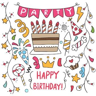 Elementi disegnati a mano buon compleanno doodle