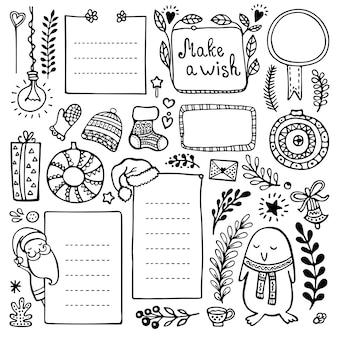 Elementi disegnati a mano di bullet journal. set di cornici doodle, banner ed elementi floreali e natalizi isolati