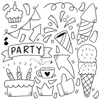Elementi disegnati a mano doodles partito