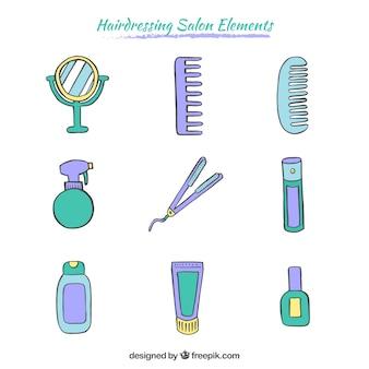 Elementi disegnati a mano parrucchiere pacco