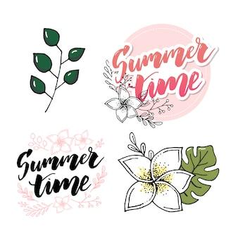Elementi disegnati a mano retrò per disegni calligrafici estate