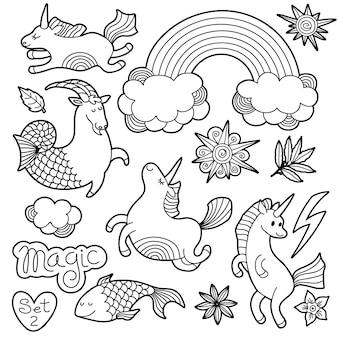 Elementi distintivo di patch di moda in bianco e nero in stile fumetto comico.