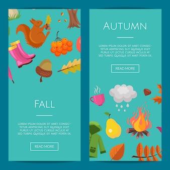 Elementi e foglie di autunno del fumetto insieme dell'insegna di web