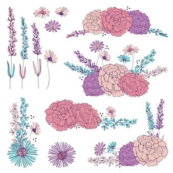 Elementi e mazzi floreali disegnati a mano