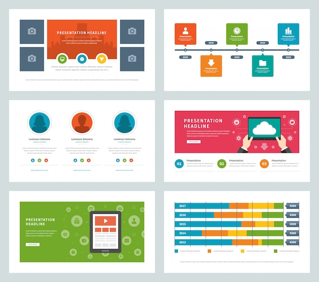 Elementi ed icone di infographic di vettore di progettazione piana di modelli di presentazione di affari.
