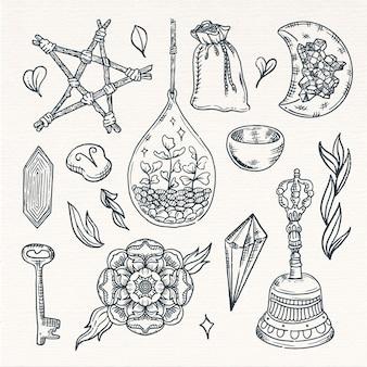 Elementi esoterici di schizzo seppia vintage