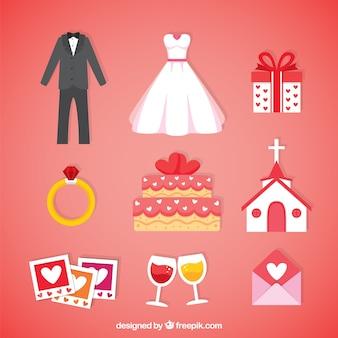 Elementi essenziali di nozze nei toni rossi