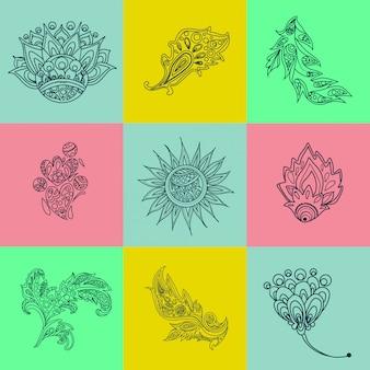 Elementi etnici. elementi ornamentali origine etnica. elementi decorativi sfondo floreale ornamento tribale