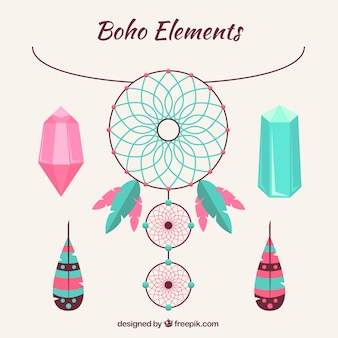 Elementi etnici fantastici in design piatto