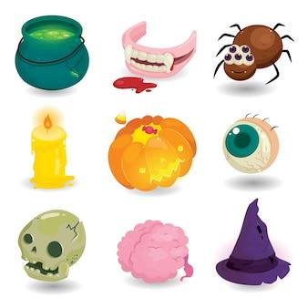 Elementi felici di disegno di halloween isolati. set di oggetti horror halloween