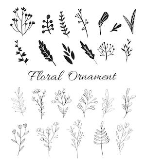 Elementi floreali disegnati a mano per partecipazioni di nozze