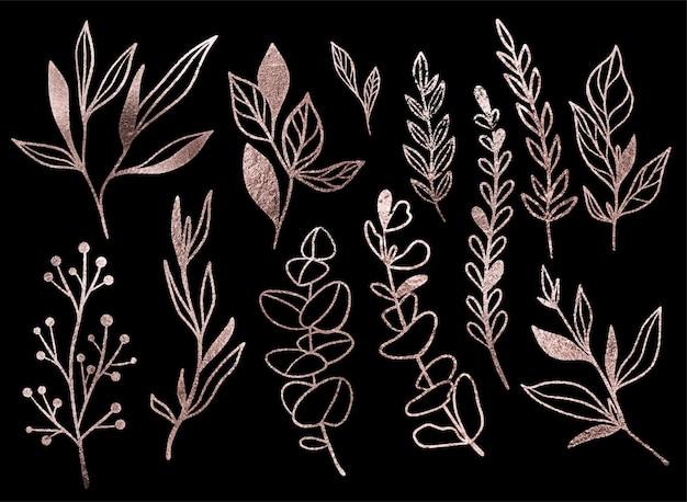 Elementi floreali metallici su sfondo nero, disegnati a mano