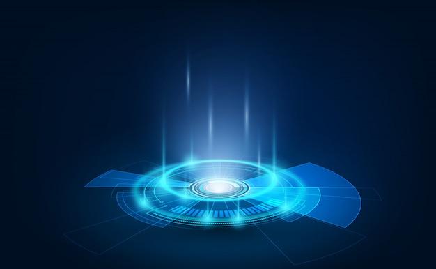 Elementi futuristici del cerchio portale e ologramma in podio teletrasporto stile hud. gui, proiettore di realtà virtuale dell'interfaccia utente. tecnologia ologramma astratta.