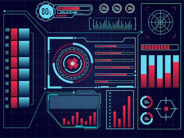 Elementi futuristici di hud, layout di infografica ui hud con grafici statistici per le imprese.