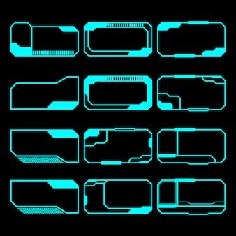 Elementi futuristici set di schermate pannello di controllo dell'interfaccia