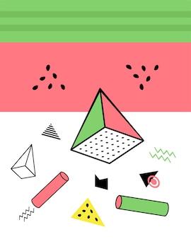 Elementi geometrici nello stile di memphis, caos geometrico colorato