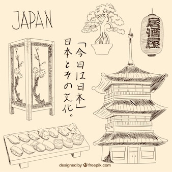 Elementi giapponesi disegnati a mano